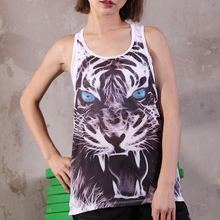 U Women s Yoga Shirt Tiger Print Sports Vest Fitness Fitting Loose Sleeveless Quick drying Sports