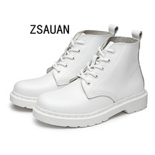 ZSAUAN Hot Spring Autumn Winter Genuine Leather Women Boots New Fashion Ankle For Girls Casual White Shoes Big Size 10