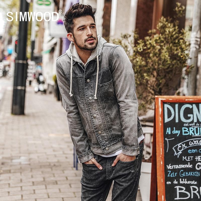 SIMWOOD 2018 Autumn New Denim Jacket Men Fashion Slim Fit Casual Jeans Coats Dark Wash 100% Cotton Vintage Jackets NK017003
