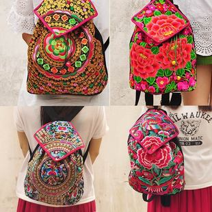 Fashion National Embroidery Women Shopping Backpacks!nice Multi Floral Embroidered Lady Cover Backrack All-match Canvas Backruck