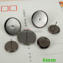 6mm New Gunmetal Hitam Disepuh Kuningan Putaran Anting Pin Stud Bantalan Kosong Basa Bezel 50 pcs/lot(China)