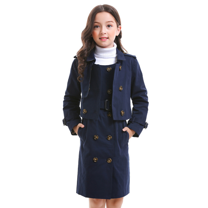 цена Children Clothing Set Autumn Girls Cotton Coat Girls Vest Dress 2pcs Double-breasted Turn-down Collar Clothing High Quality