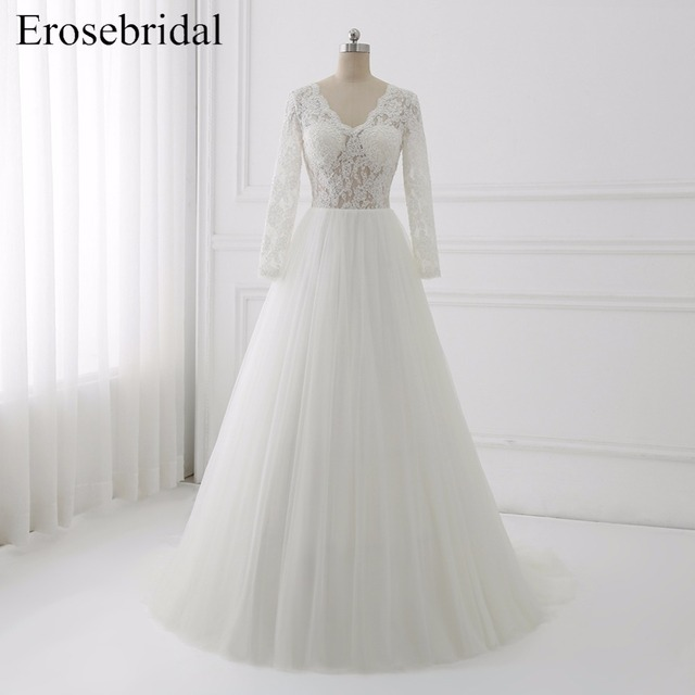 2018 Long Sleeve Wedding Dresses A Line Bridal Gowns Erosebridal Plus Size  Wedding Dress Lace Illusion Bodice Vestido De Noiva 82c5b09c9c7f