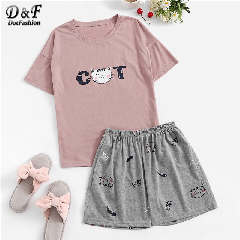 Dotfashion Cat and Fishbone Print   Pajamas   For Women Tee And Shorts   Set   2019 Short Sleeve Summer Sleepwear Female   Pajama     Set