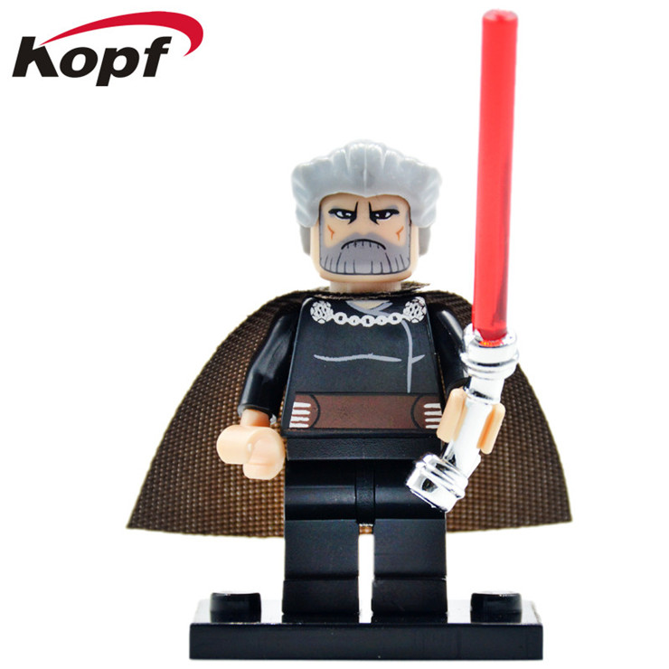 50Pcs PG643 Building Blocks Super Heroes Count Dooku White Boba Luke Skywalker Star Wars Curved Lightsaber Sith Bricks Toys Kids