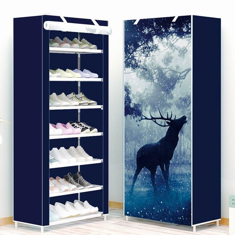 Étagère à chaussures 8-couche 7-grid Non-tissé tissus grande armoire à chaussures organisateur amovible de stockage de chaussures pour la maison meubles