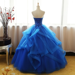 Image 2 - Fashion Luxury Lace Black Blue Champagne Quinceanera Dress Ruched Crystal Organza Vestidos De 15 Debutante Gown Bohemia Princess