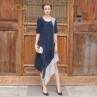 VOA 2018 Spring Summer New Heavy Silk Navy Blue Women Irregular Dress Half Sleeve Brief Casual Plus Size Loose Dress ASA00102