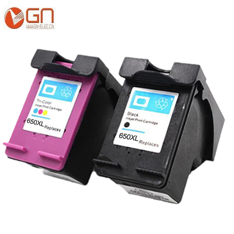 GN 2pack 650XL Ink Cartridge Replacement for <font><b>HP</b></font> <font><b>650</b></font> XL Compatible for <font><b>HP</b></font> Deskjet 1015 1515 2515 2545 2645 3515 <font><b>printer</b></font> image