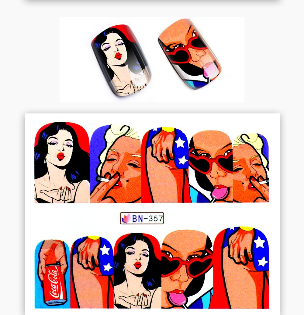1 Sheet 17 New Nail Fashion Sticker Full Cover Lips Cute Printing Water Transfer Tips Nail Art Decorations 8