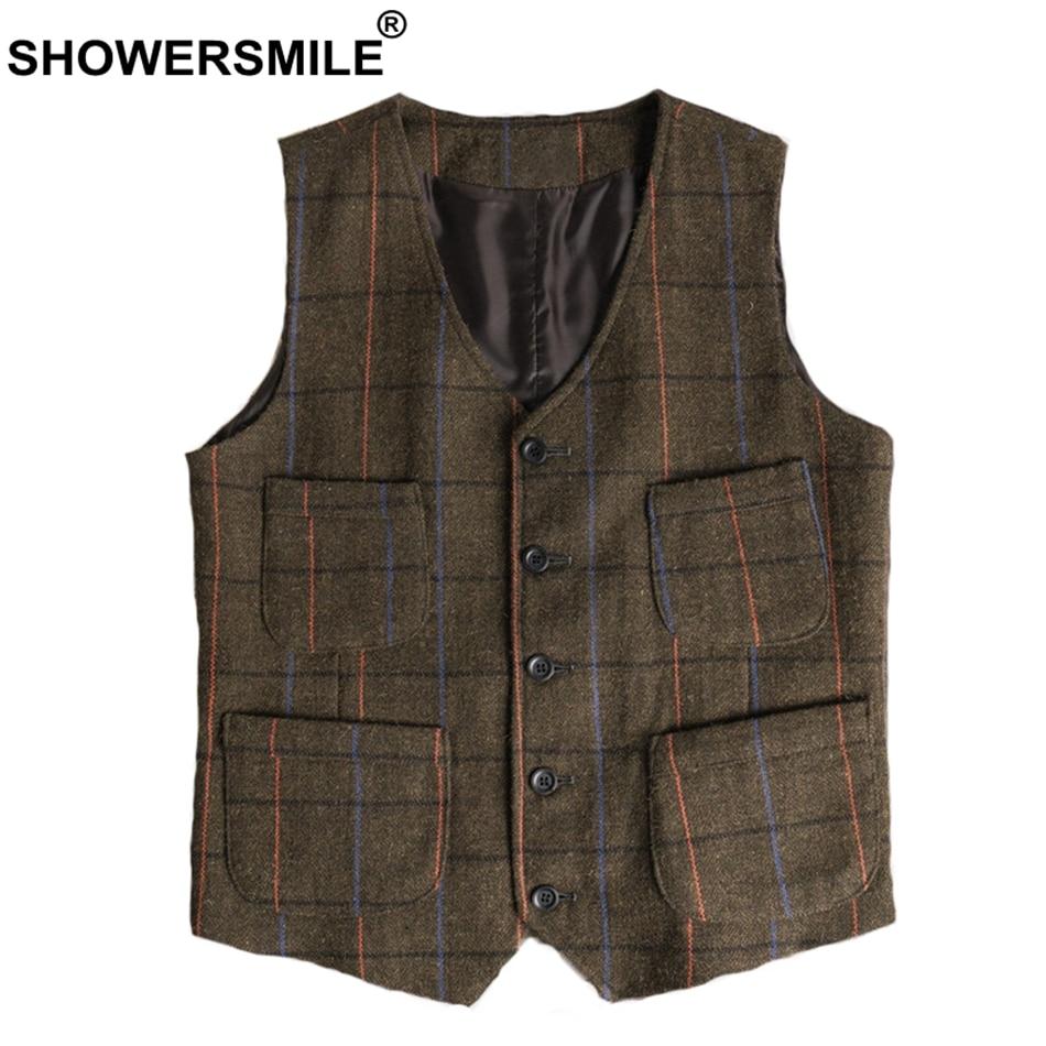 SHOWERSMILE Multi Vest Mens Plaid Tweed Vintage Waistcoat Male Plus Size 4xl Warm Pockets British Checkered Autumn Winter Gilet