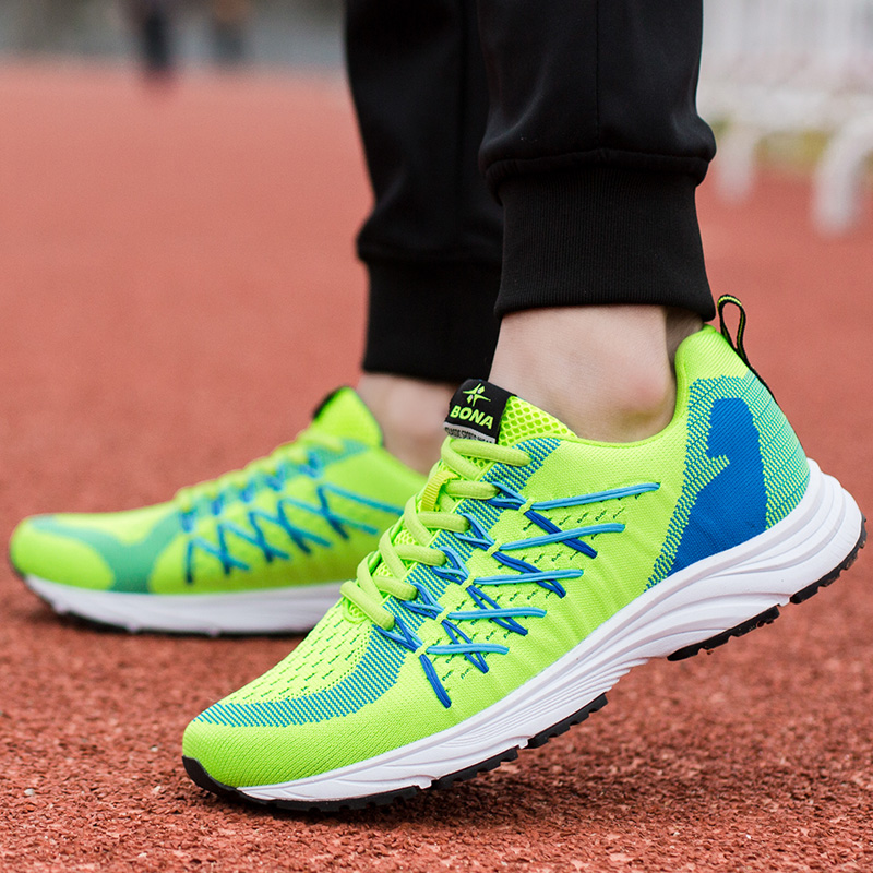 BONA New Bassics Style Men Running Shoes Lace Up Sport Shoes Outdoor Walking Jogging Athletic Shoes Popular Comfortable Sneakers in Running Shoes from Sports Entertainment
