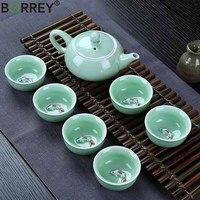 BORREY Traditional Chinese Tea Set Porcelain Celadon Teapot Cups Handpainted Teacup Chinese Kung Fu Tea Set Puer Oolong Kettle