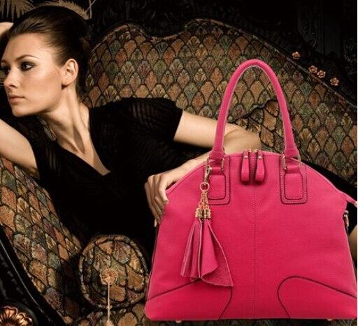 ФОТО Genuine Leather Handbag Women's Messenger Bag Female Shoulder Bag Leather Tassel Bags