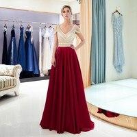 Vivian's Bridal 2018 Fashion V neck Backless Crystal Beading Evening Dress A line Wine Navy Blue Off Shoulder Stain Long Dress