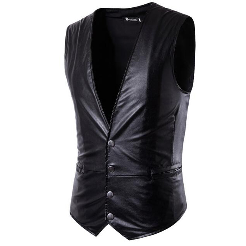 Casual Vest Single-Breasted Men's New Plus-Size Solid-Color