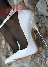 New Womens White Sexy Pumps Shoes Ankle-strap Pointed Toe Super High Heels 16cm Metallic Heel S30 цена и фото