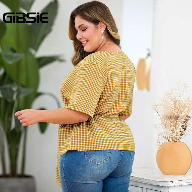 GIBSIE Plus Size Elegant Wrap V-Neck Plaid Shirt Top With Belt Women Short Sleeve Clothing Female Big Size OL Summer Blouse 2