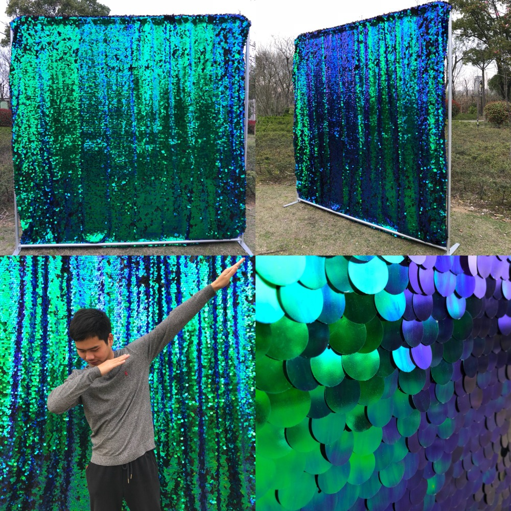 8ft 2 4m Peacock green 18mm sequin backdrop with pole pockets for party