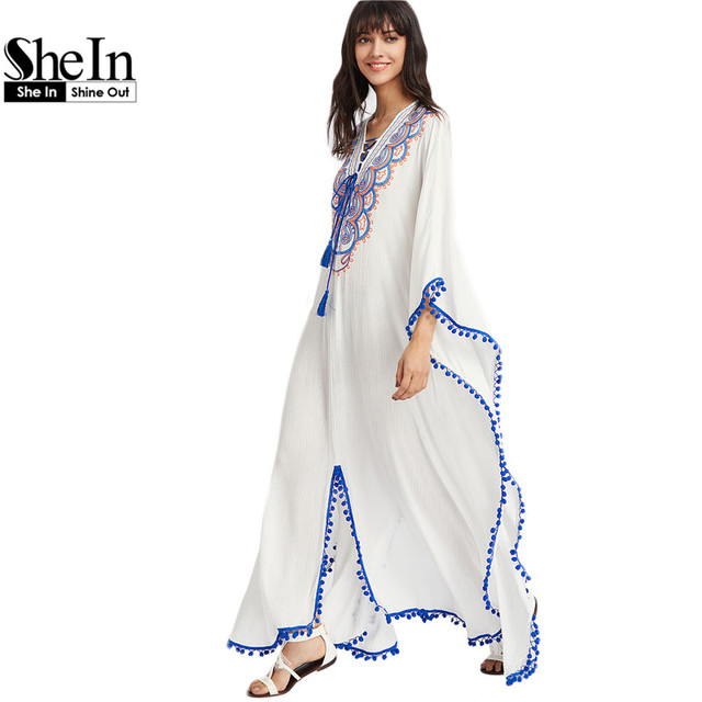 SheIn Summer Boho Dress Women Embroidered Dress Deep V Neck Pom-pom Trim Lace Up Cut Out Back Long Sleeve Poncho Dress