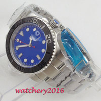 43mm Bliger Blue Sterile Dial Rotating Ceramic Bezel Sapphire Glass Date no logo Fashion Brand Automatic movement men's Watch