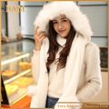 Winter Warm Gloves Women Hoodie Pocket Earflap hat with fur trim long scarf Snood Wraps