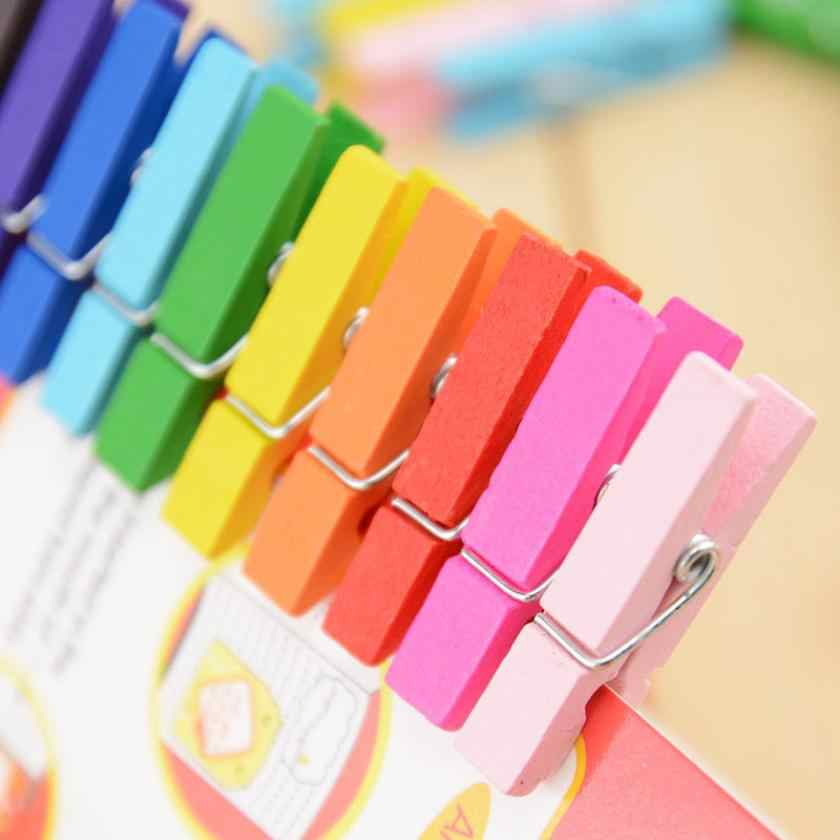 50PCS Mixed Color Mini Wooden Peg Pin Clothespin Decor Craft Clips Photo Paper Clothes 25mm 35mm 45mm Dropshipping