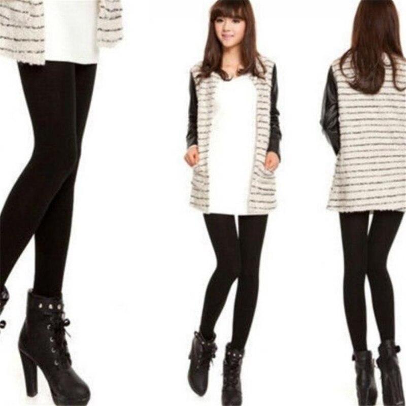 Fashion Women Fleece Velvet Leggings Winter Warm Knitted Thick Slim Fitness Elastic Pants IK88