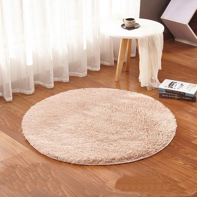Beige Runden Teppich Teppiche Yoga Warm und Gemütlich Waschen ...
