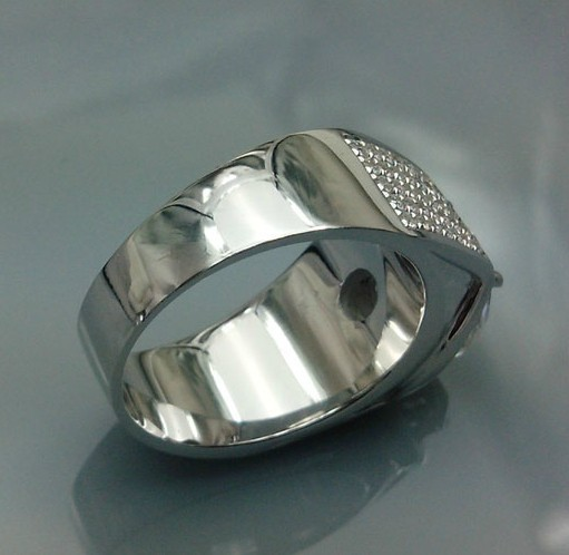 Superb Durable Men Ring Solid 585 Gold 5ct Synthetic Diamonds