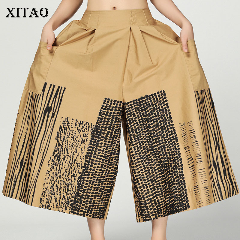 [XITAO] Korea Fashion New Women 2019 Summer Print Pattern Loose   Wide     Leg     Pants   Female Elastic Waist Ankle-length   Pants   DLL3522
