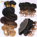 8A Malaysian Ombre Hair Weave Extension Body Wave 1B/4/27 Three Tone Ombre Hair 3 Bundles With 13x4 Pre-plucked Frontal Closure
