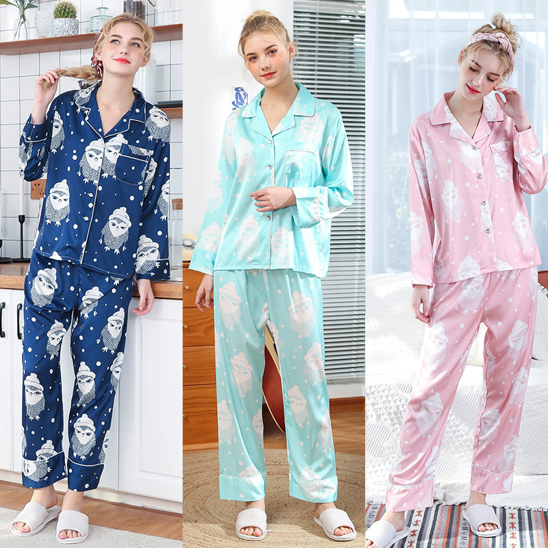 2019 pajamas for women new spring home clothes slik lke nightshirt sleepwear long sleeve homewear long pants new Arrival