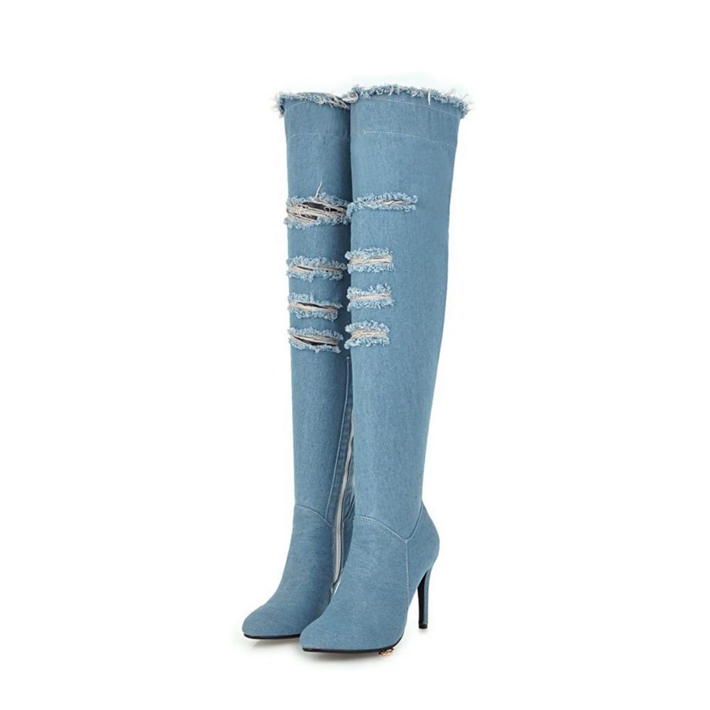 De Ef1590 ef1590 Original Botas Zapatos Sobre Dark Punta Intención Las Sexy Light Rodilla Clásica Mujer Azul Mujeres Oscuro Blue Larga Luz Denim Blue La wUE1pq