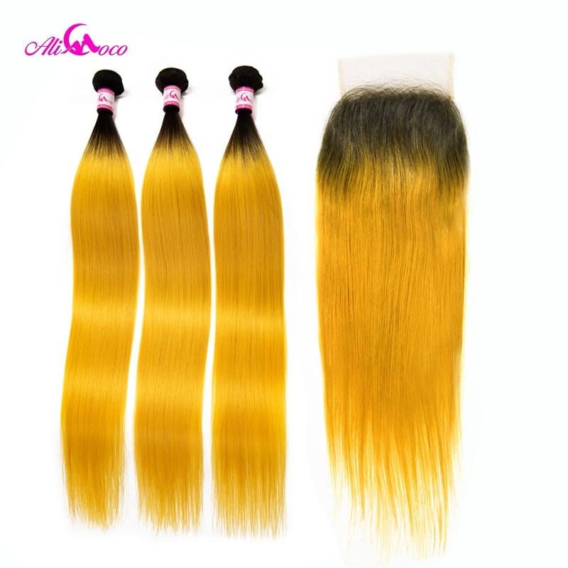 Ali Coco Brazilian Straight Human Hair 3 Bundles With Closure 1B Yellow Color 10 30 Inch