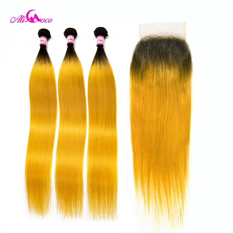Ali Coco Brazilian Straight Human Hair 3 Bundles With Closure 1B/Yellow Color 10-30 Inch Remy Hair Lace Closure With Baby Hair