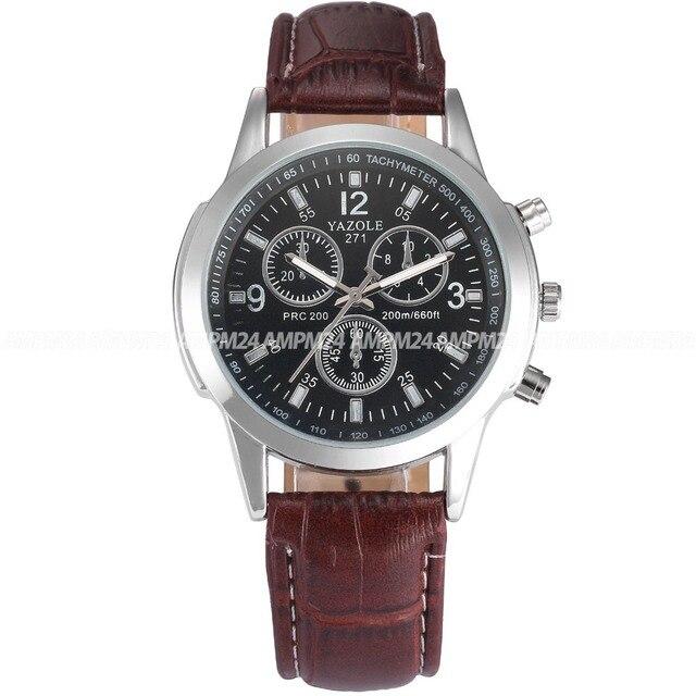 e0ee6242b53 Elegante marca de café pulseira de couro genuíno relógio masculino relógio  de pulso de quartzo relógio
