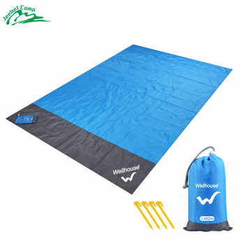 Alfombra de playa libre de arena 140x210cm manta de Picnic impermeable Camping al aire libre tienda de campaña plegable cubierta de cama de bolsillo