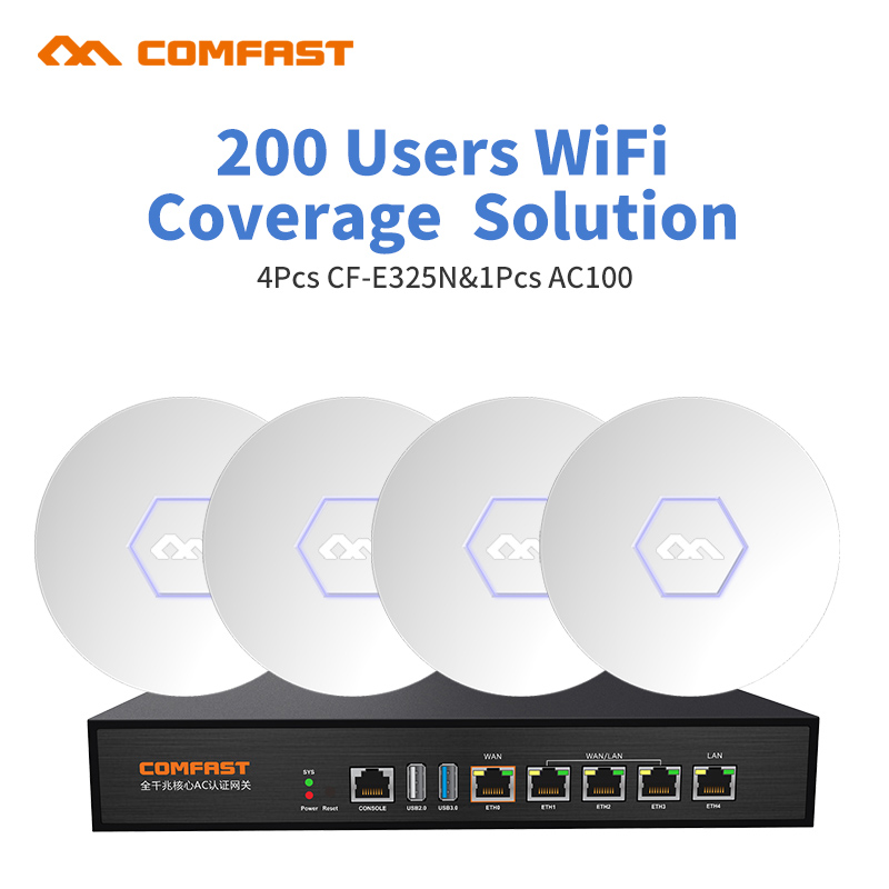Wifi Coverage Solution for 200user Home or office Wifi project Comfast Wifi networking AC mangement router solution 1 AC100 rout wifi project manager comfast ac200 full gigabit ac authentication gateway routing for multi wan access wireless roaming gaterway