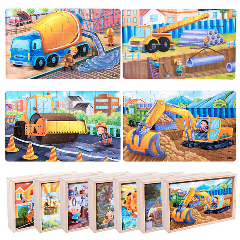 Wooden Puzzle Toys Puzzles with Iron Box Kids Cartoon Animal Wood Puzzles Educational Toys for Children Christmas Gift in Puzzles from Toys Hobbies