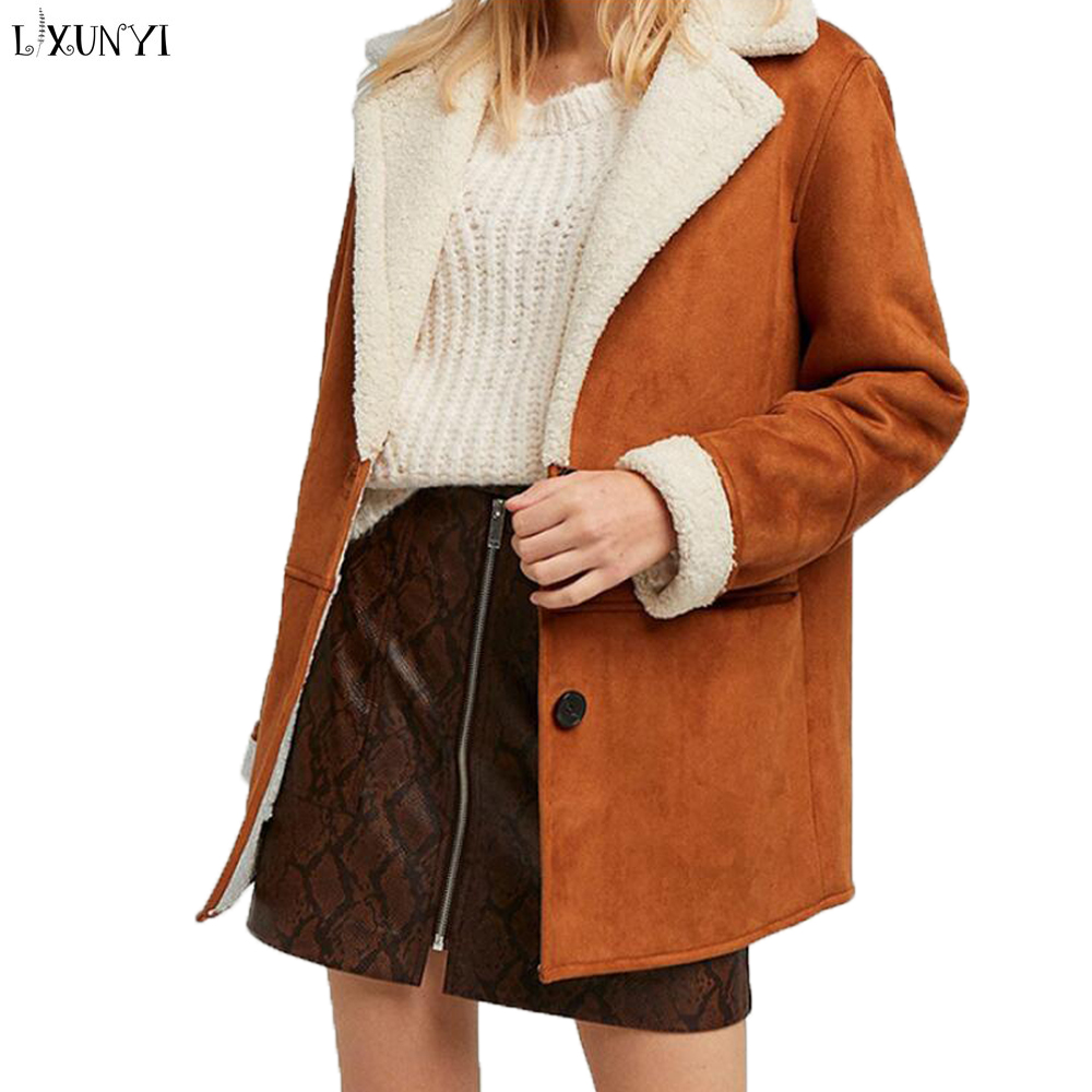 Lxunyi Women Faux   Suede   Coat Autumn Winter Turn Down Collar Thick   Suede   Jackets Female Lambs Wool Motorcycle Coats