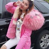 maomaokong 2018 new grass waves green ice cream super big raccoon collar fox fur Liner leisure jacket female