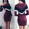 2016 Новый Lady Sexy Bodycon Тонкий Vintage Платья Женская Мода Осень Повседневная С Длинным Рукавом для Торжеств и Вечеринок Короткие МИНИ Платья