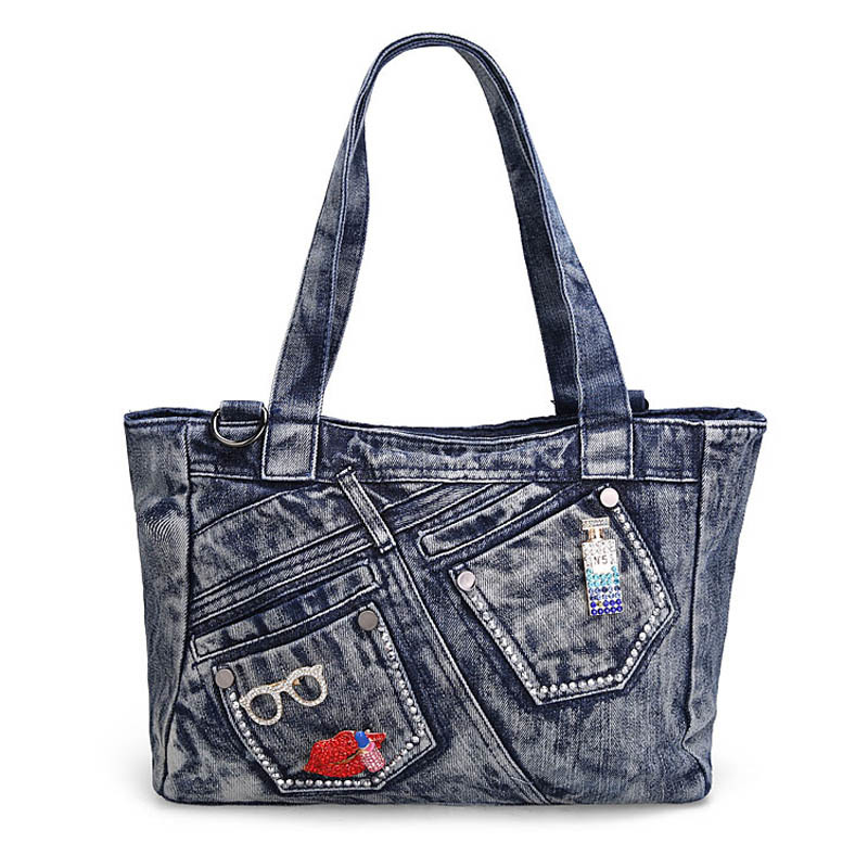 women denim handbag extra large capacity shoulder messenger bags ladies crossbody bag female casual tote bag цена