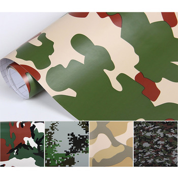152x20cm Camouflage Vinyl PVC Car Sticker Wrap Film Digital Woodland Army Military Green Camo Desert Decal For Auto Motorcycle image