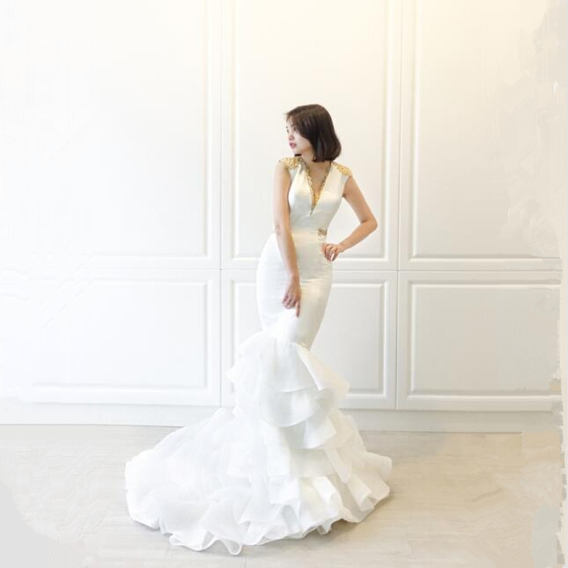 3fa0b5dab640 Buy mermaid dress with layered train and get free shipping on AliExpress.com