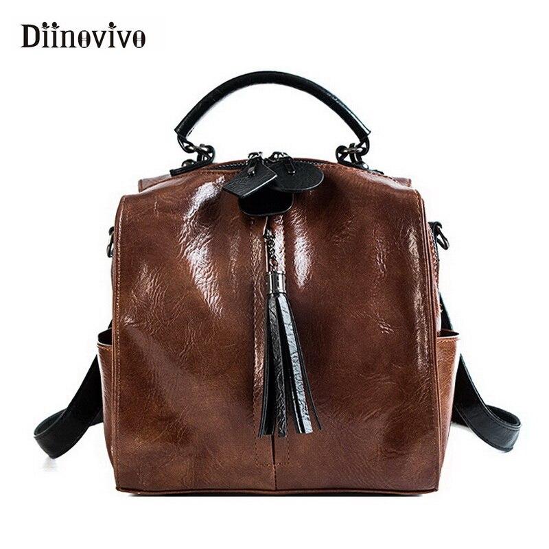 Diinovivo New Vintage Backpack Female Tassel School Bag Bucket Multifunction Retro Backpacks For Women Back Pack Whdv0753