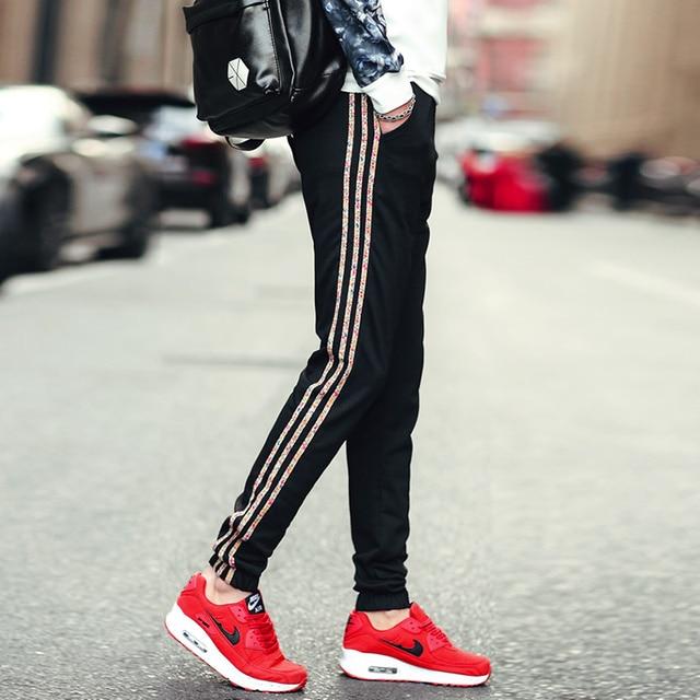 Pantalones ocasionales de los hombres de yeezy hombres Palacio Thrashe faja lateral de color pantalones casuales de Los Hombres Con Estilo y cómodo de gran tamaño de los hombres