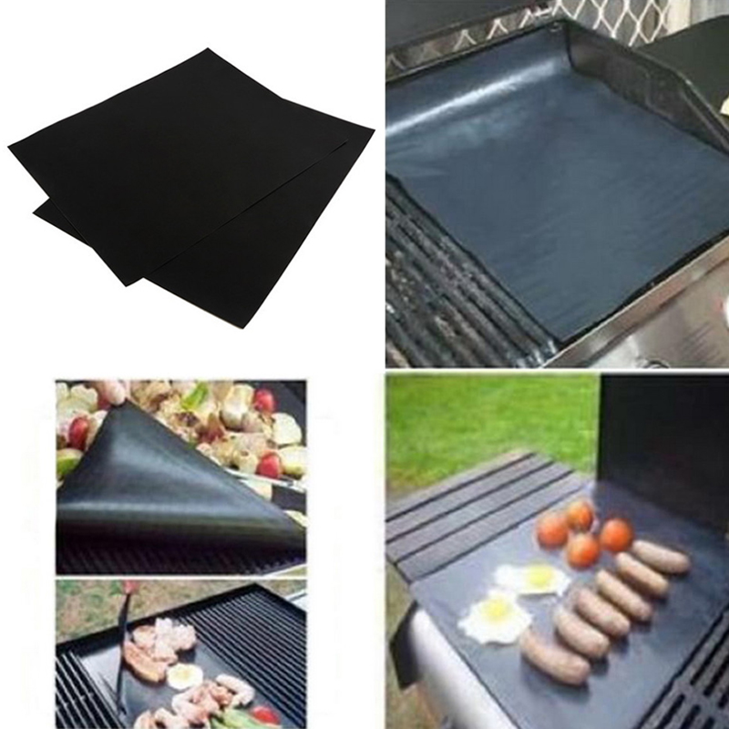 2Pcs BBQ Mat Plate Sheet Hot Laptop Clean Easy Nonstick Bakeware cooking tool accessories BBQ Outdoors Throughout 33*40CM
