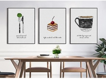 Coffee Cup Cake Western Knife And Fork Canvas Painting Art Print Poster Picture Wall Paintings Home Decor Unframed